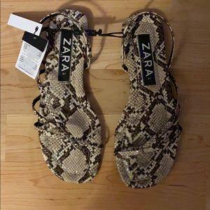 Zara snake/python straps flat sandals NWT